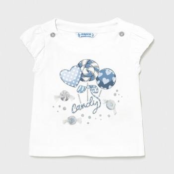 T-shirt bébé fille Blanc ciel