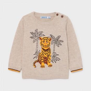 Pull beige motif tigre bébé...