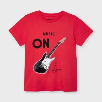 Tee shirt rouge guitare garçon