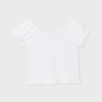 T-shirt court smocké blanc...