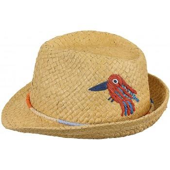 Chapeau De Paille Brodé Oiseau